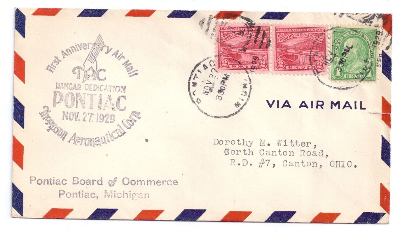 Primary image for Pontiac Michigan TAC Hangar Dedication 1929 1st Anniversary Airmail Sc# 681