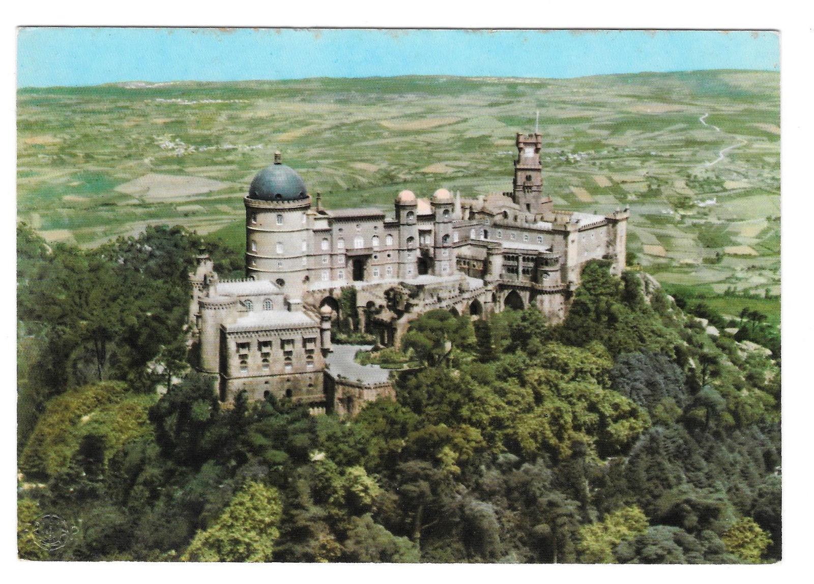 Portugal Sintra Palacio de Pena National Palace Aerial View Vtg Postcard 4X6