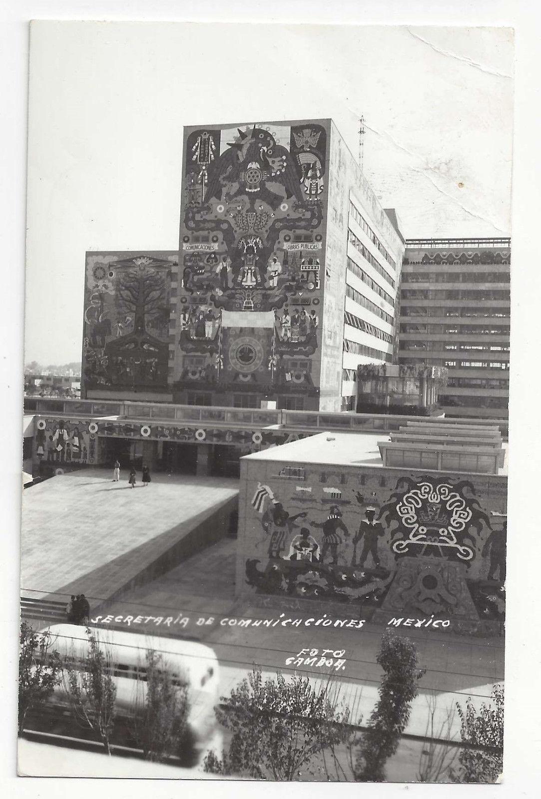 RPPC Mexico Juan O'Gorman Murals Secretaria de Comunicacione Vtg Gamboa Postcard
