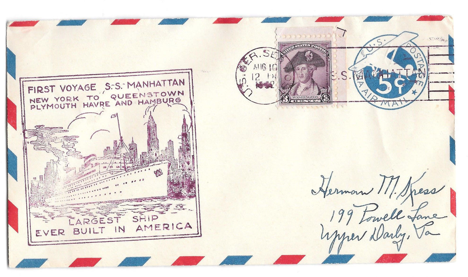 Ship Cover First Voyage SS Manhattan 1932 U.S.Ger Sea Post Cancel Sc UC2 708