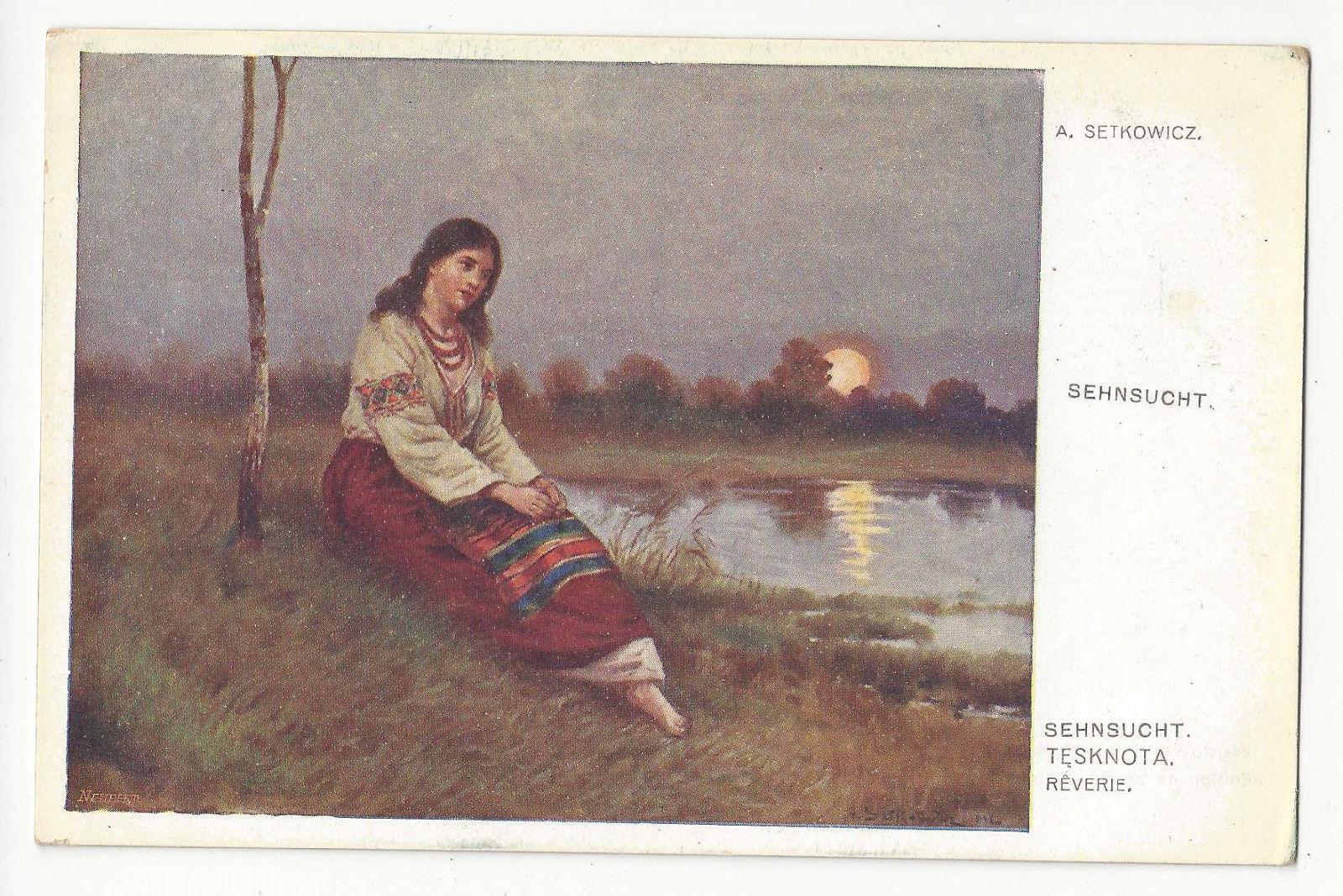 Setkowicz Sehnsucht Reverie Tesknota Nostalgia Polish Artist Vtg Postcard Krakow
