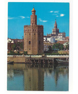 Spain Sevilla Gold Tower Torre del Oro Vtg Chrome Postcard 4X6 - $4.74