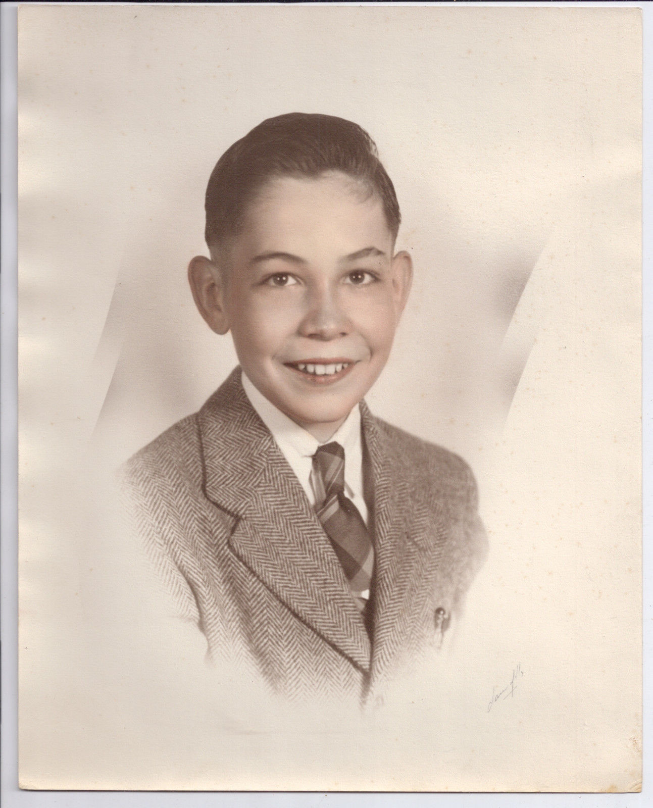 Springfield Ohio Olan Mills Vintage Tinted Portrait of  Young boy Suit  8 X 10