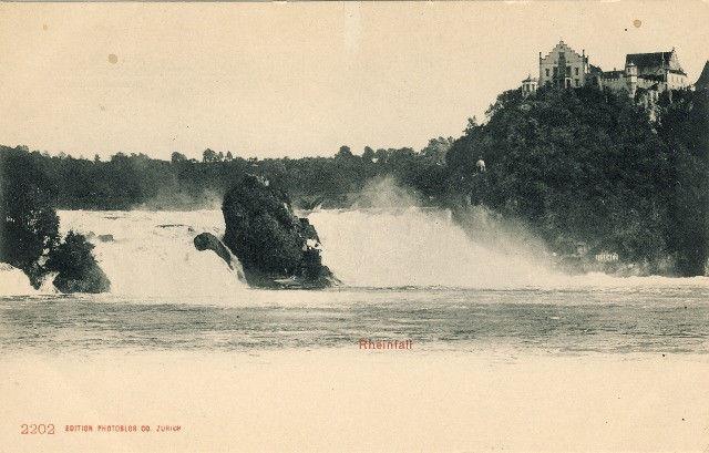 Switzerland Rheinfall Waterfall Rhine River Vintage UND Litho Postcard