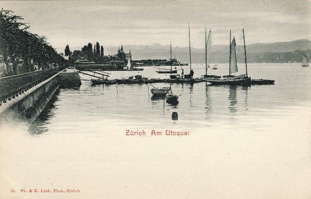 Switzerland Zurich am Utoquai Quai Sailboats Seebad Vintage Postcard UND