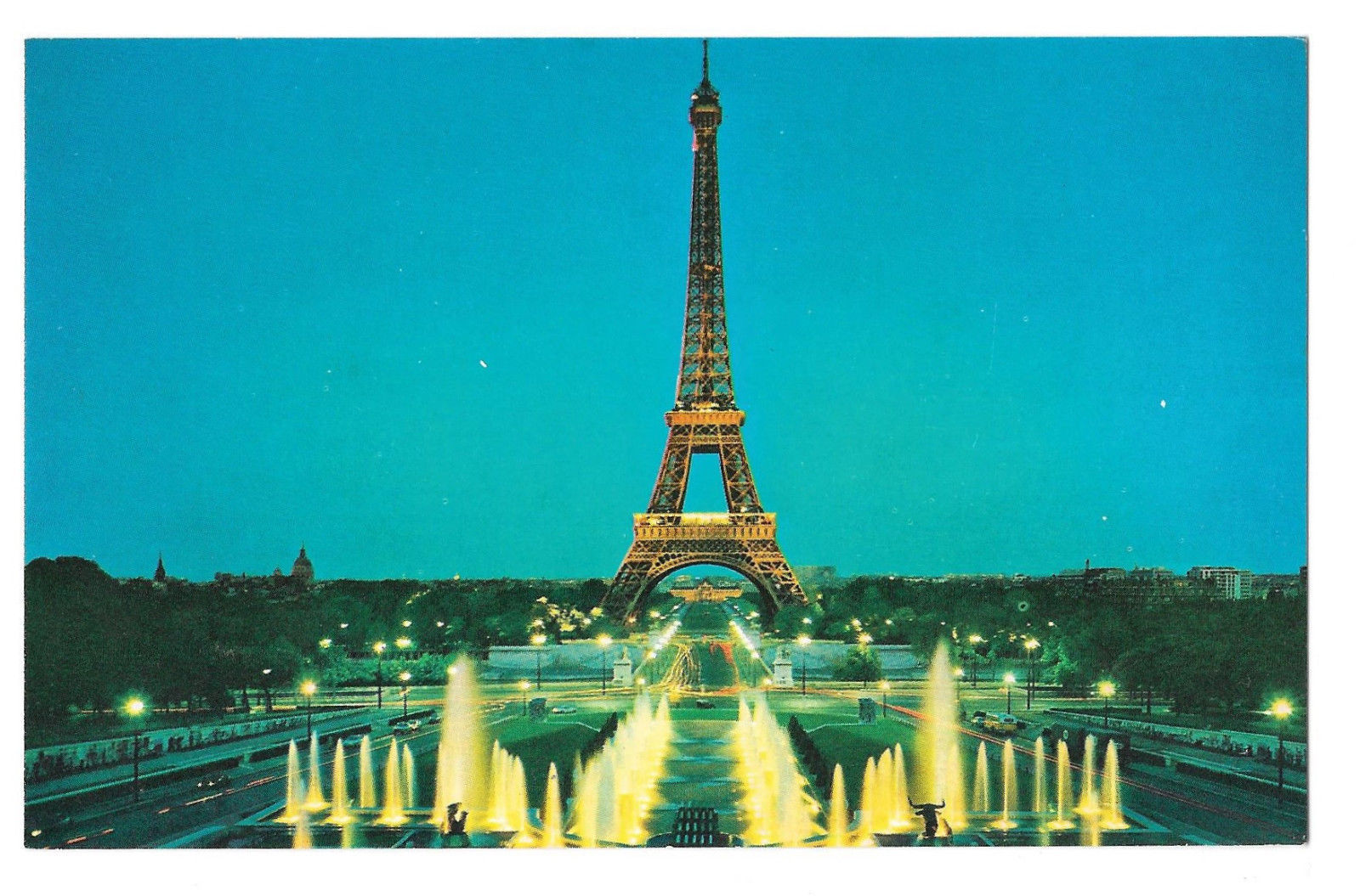 TWA Paris Eiffel Tower from Trocadero In Flight with TWA Advertising Postcard