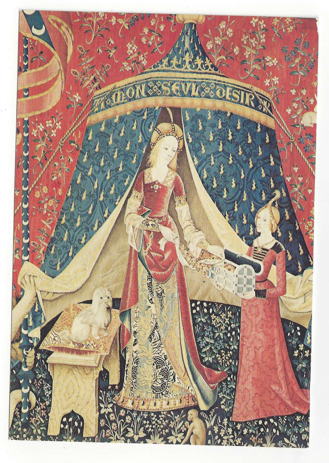French Tapestry Lady and Unicorn Panel Detail My Sole Desire 1973 Postcard 4X6