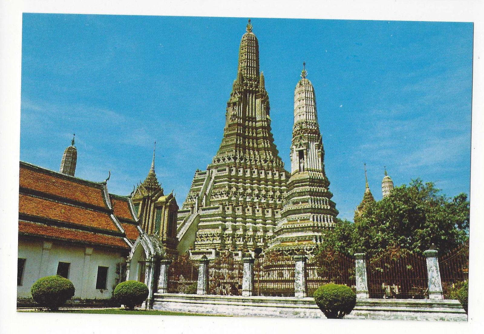 Thailand Bangkok Temple of Dawn Wat Aroon Vtg Postcard