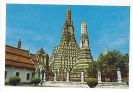 Thailand Bangkok Temple of Dawn Wat Aroon Vtg Postcard - $6.45