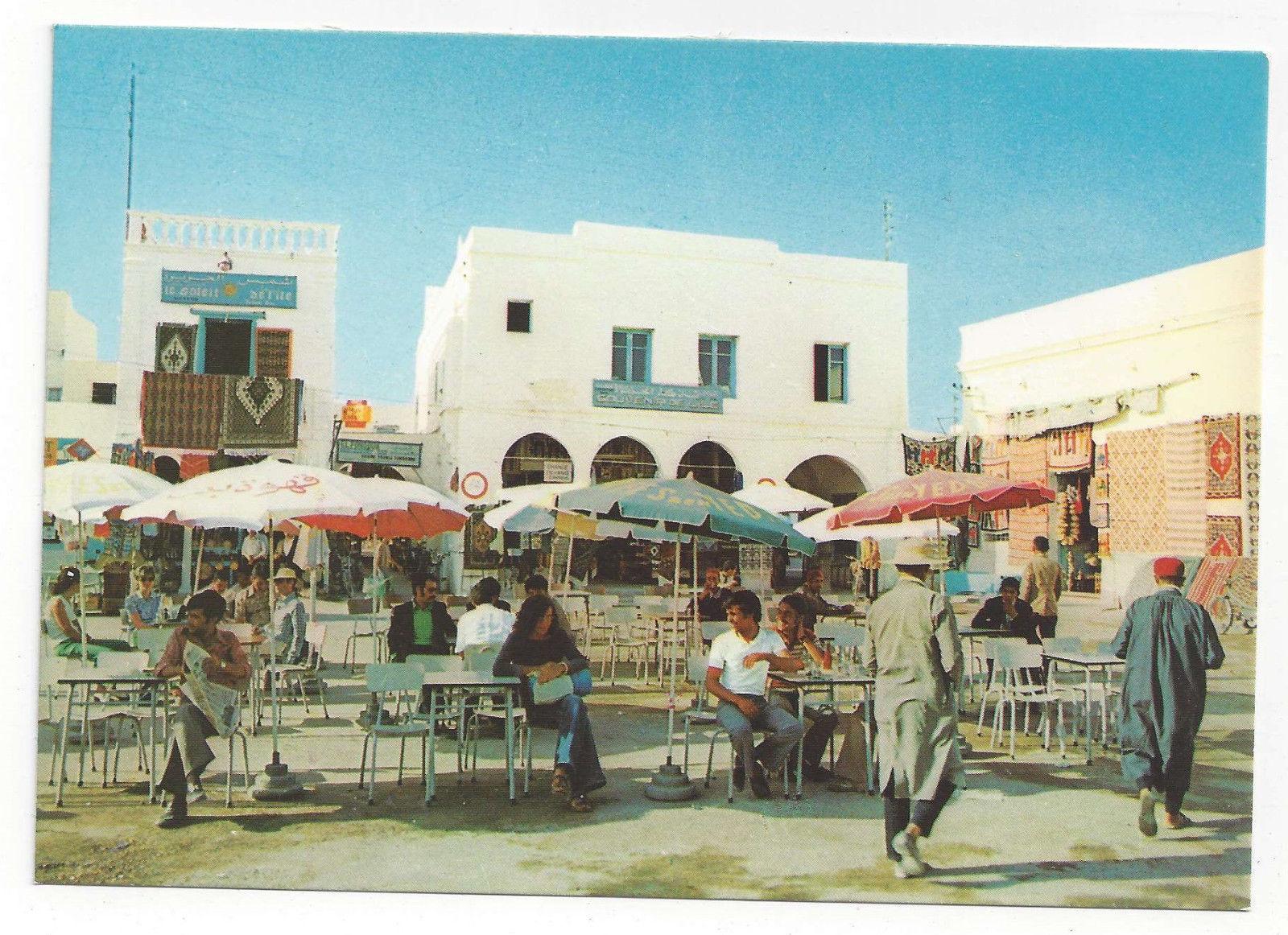 Tunisia Djerba Houmt Souk Market Neighborhood Cafe Jerba Vtg Postcard 4X6