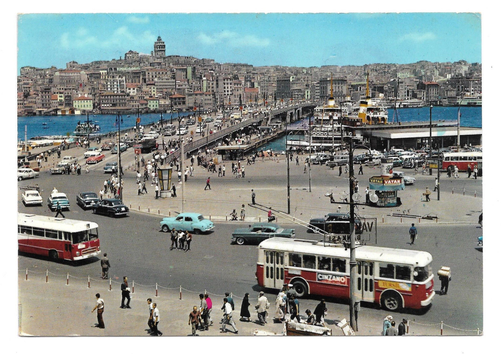Turkey Eminonu Galata Bridge Tram Trolley Cars Vtg Postcard 4X6 Istanbul