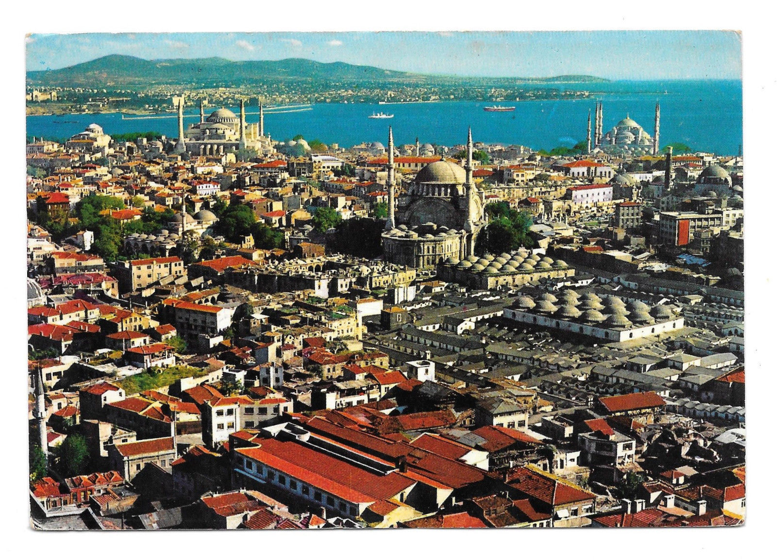 Turkey Istanbul Aerial View St Sophia Blue Mosque in Old City Vtg Postcard 4X6