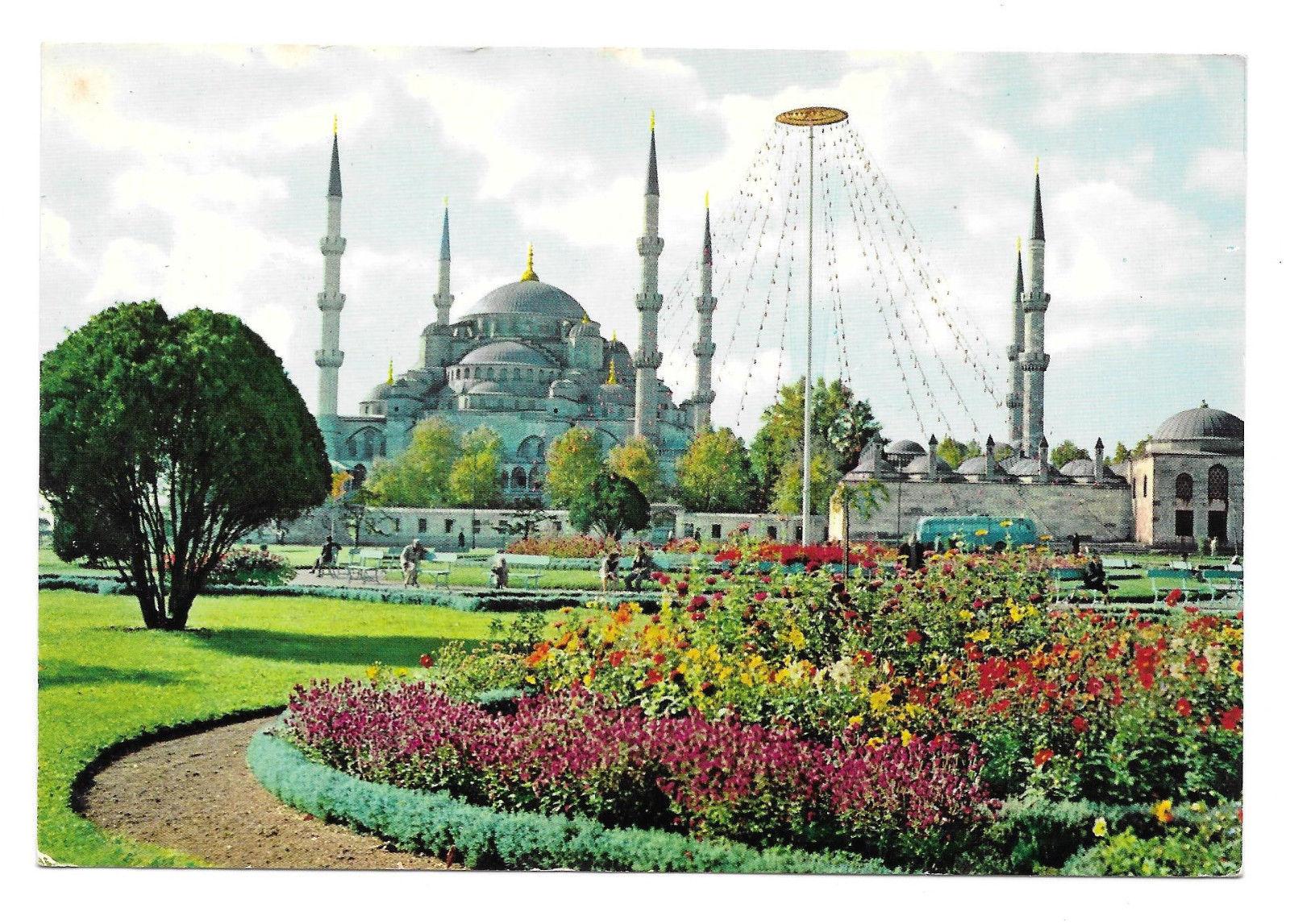 Turkey Istanbul Blue Mosque Gardens Vtg Postcard 4X6