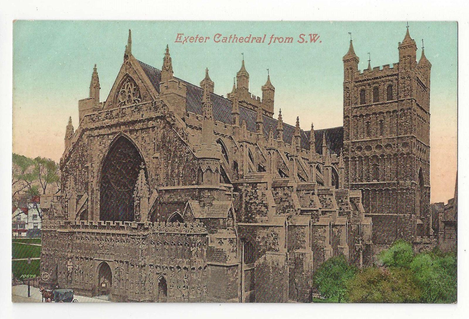UK Devon Exeter Cathedral From SW Vtg ca 1910 Valentine's Series Postcard