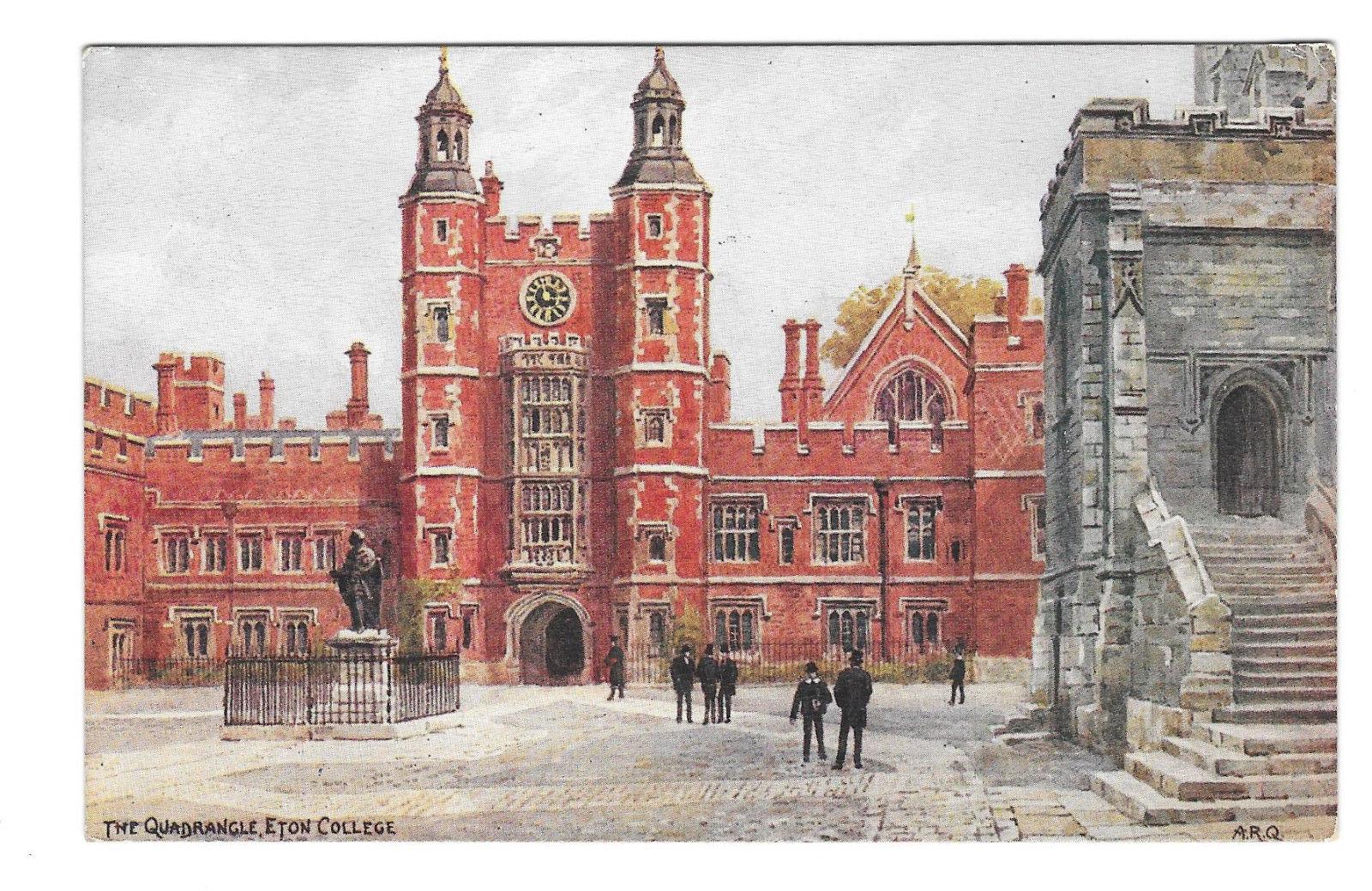 UK Eton College Quadrangle AR Quinton Painting Vtg Salmon Postcard England