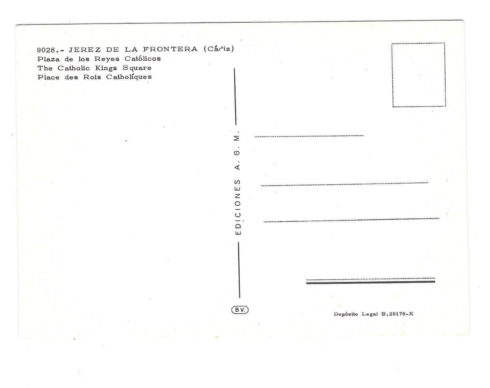Spain Cadiz Jerez de la Frontera Catholic Kings Square Vtg Postcard 4X6