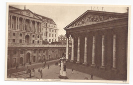 UK London Bank Royal Exchange Great Britain Vintage Photochrom Postcard - $4.74