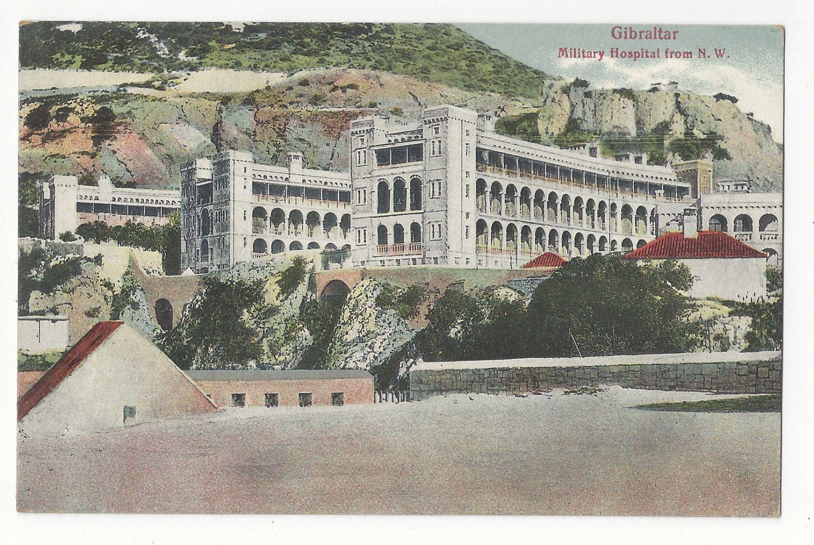 UK Gibraltar Military Hospital from NW Vintage VB Cumbo Postcard c 1910