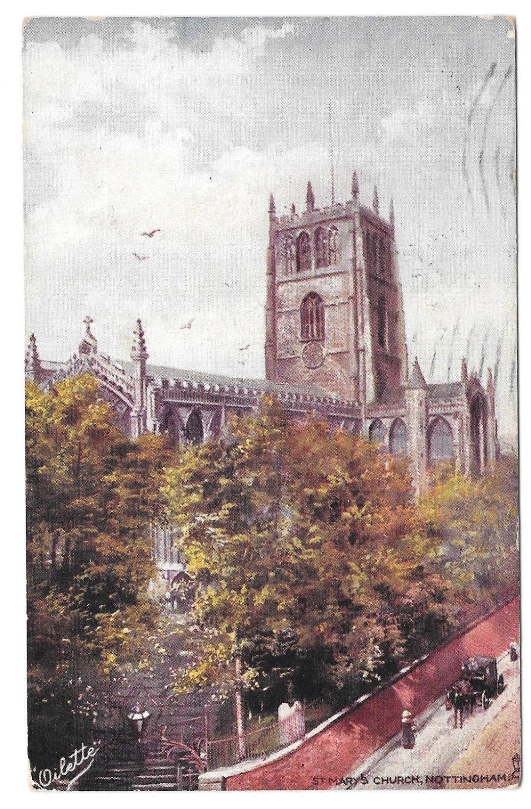 UK Nottingham St Mary's Church Vtg UDB Tuck Oilette 1906 Postcard