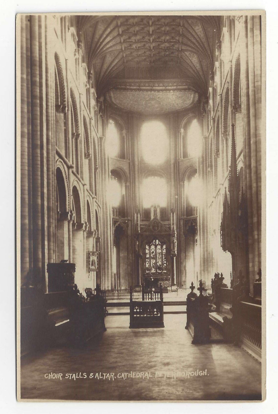 UK Peterborough Cathedral Choir Stalls & Altar Vtg Real Photo Postcard RP