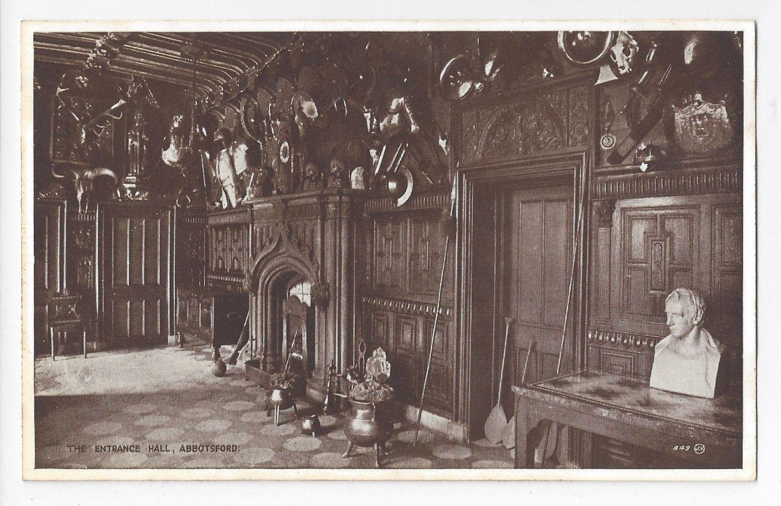 UK Scotland Abbotsford House Entrance Hall Valentines Vintage Postcard