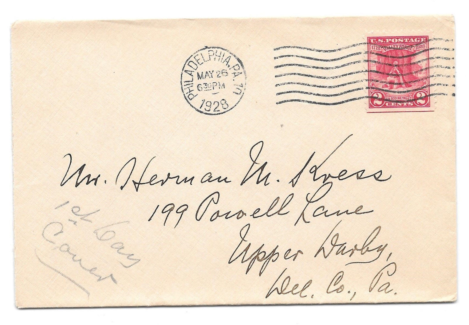 US 1928 FDC Sc# 645 Valley Forge Philadelphia PA Cancel