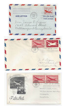 US Air Mail FDCs Sc C32 UC14 UC16 Combo Air Letter Skymaster lot of 3 Co... - $5.69