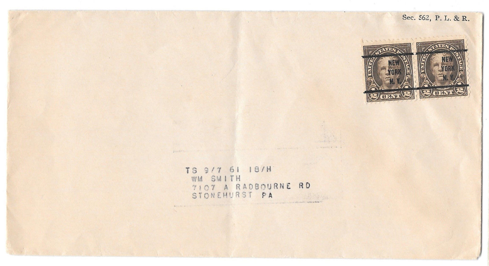 US Precancel Cover New York NY Sc# 551 pair 1/2c Hale pair