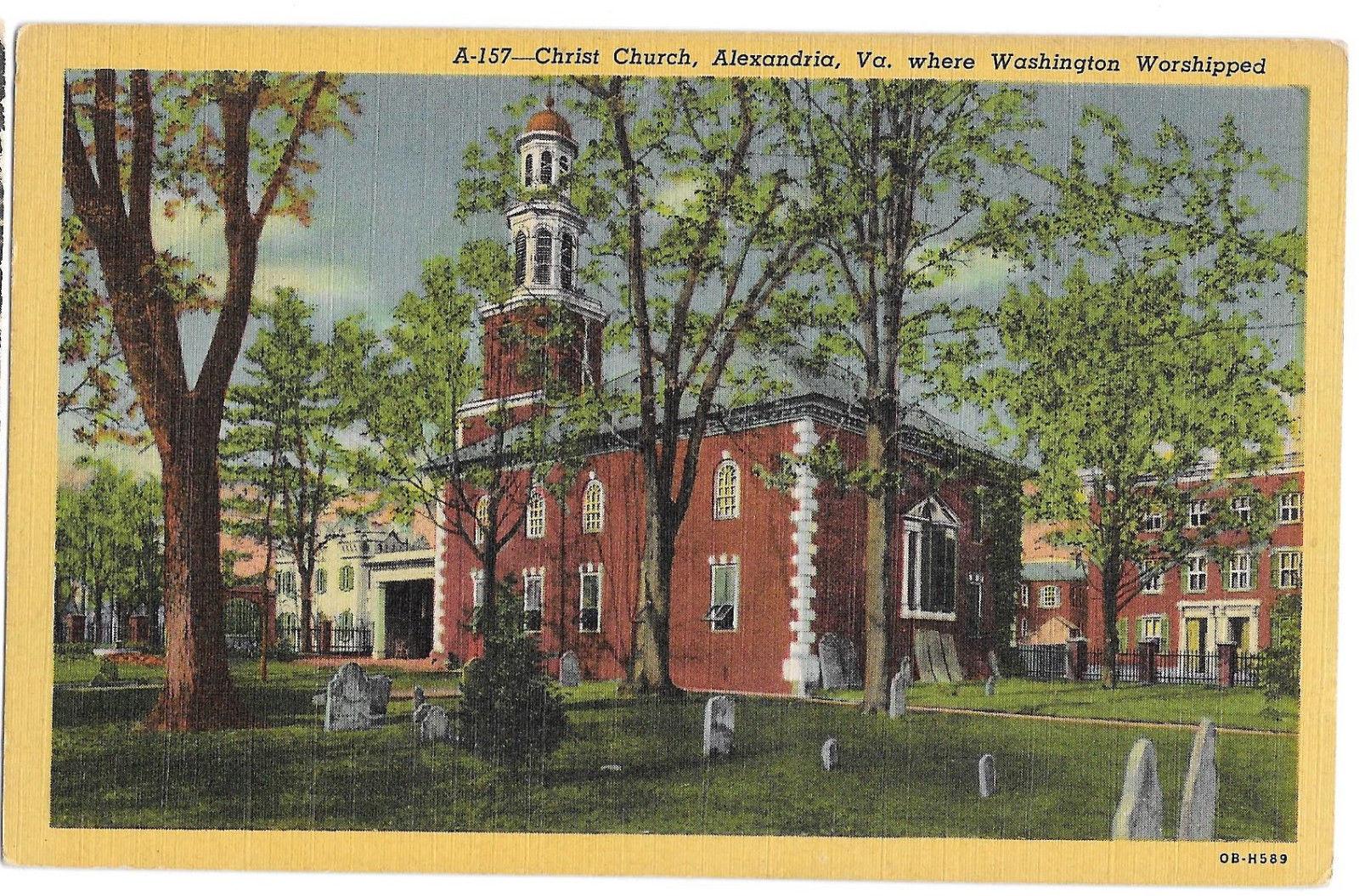 VA Alexandria Christ Church George Washington Worshipped Here Vtg Linen Postcard
