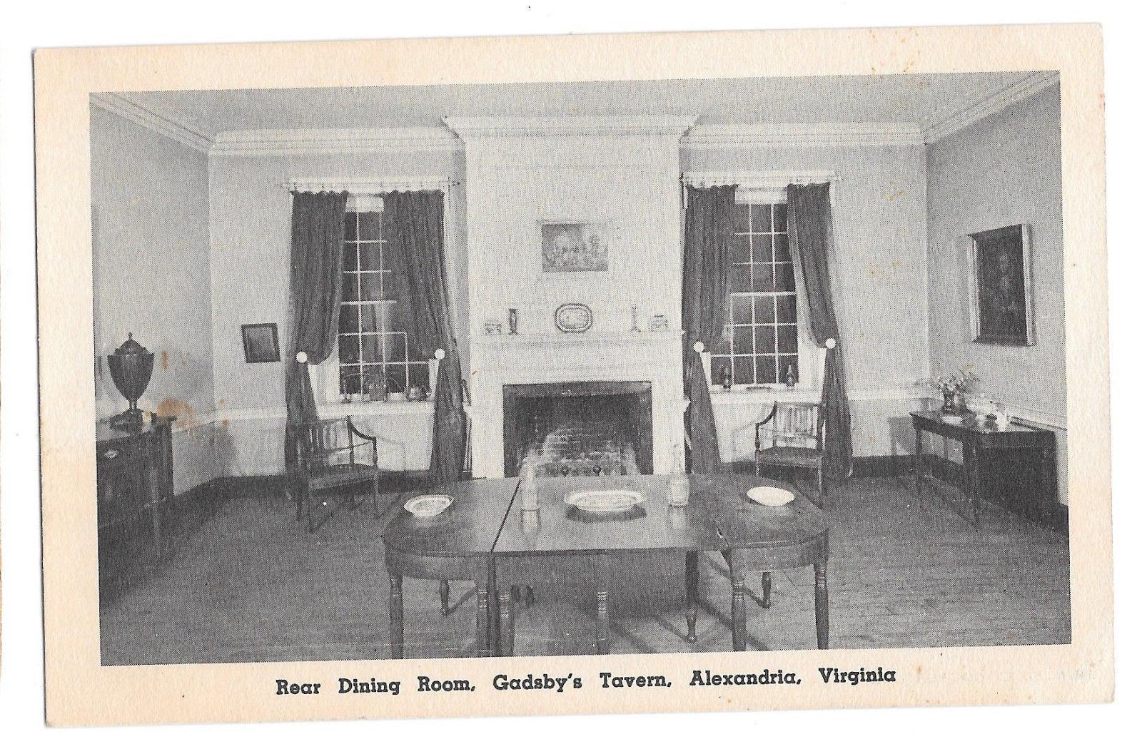 VA Alexandria Gadsby's Tavern Rear Dining Room Vtg NSDAR Postcard