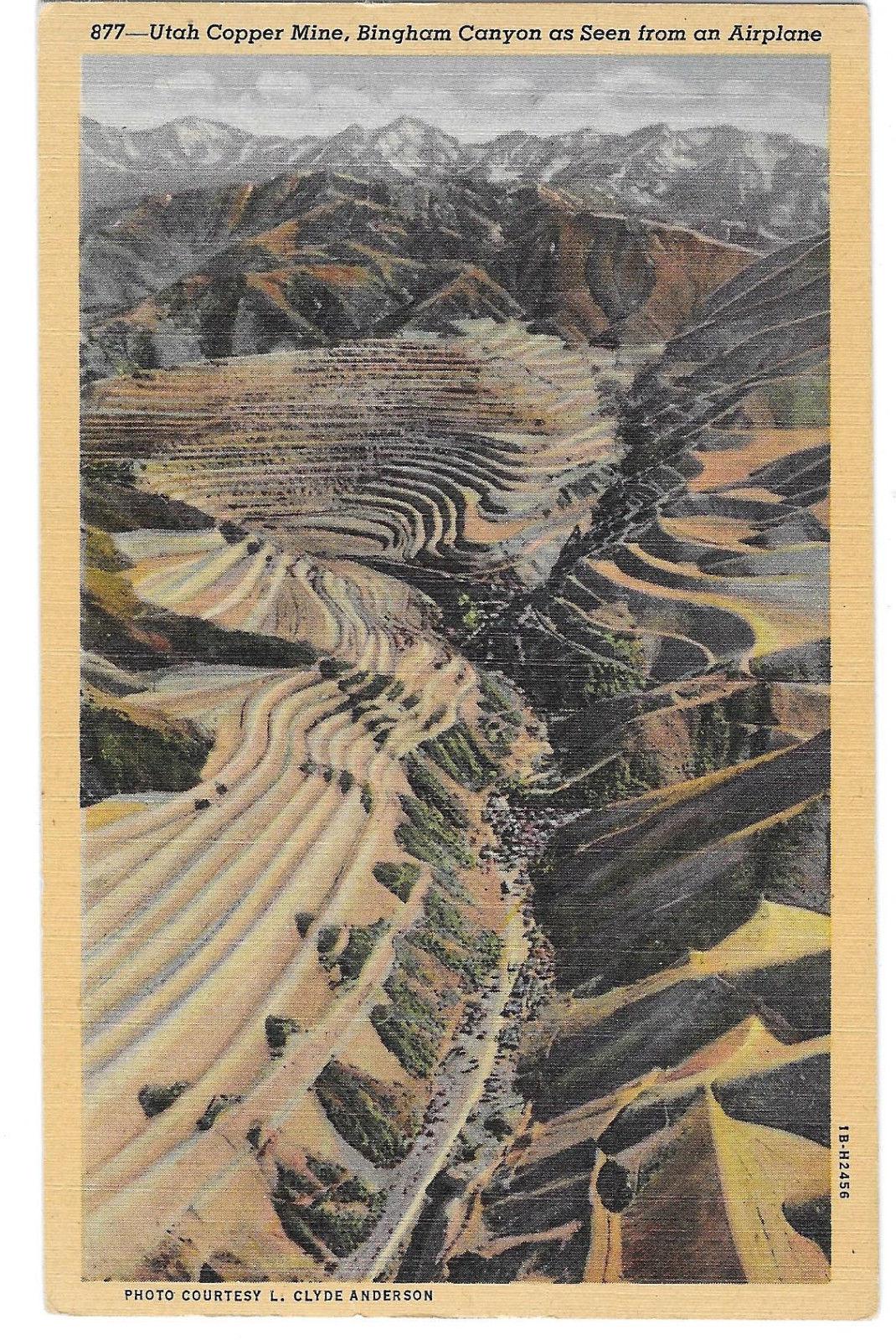 Utah Copper Mine Bingham Canyon Aerial View Vtg Anderson Linen Postcard UT