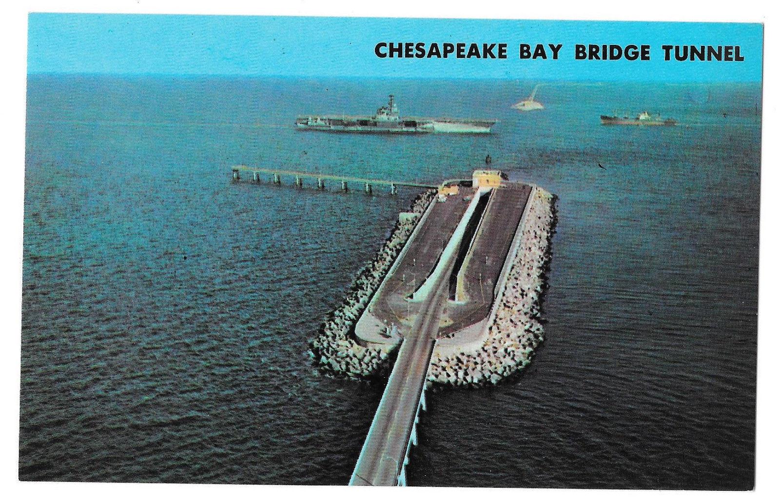 VA Cheaspeake Bay Bridge Tunnel US Route 13 Man Made Island Vtg Postcard
