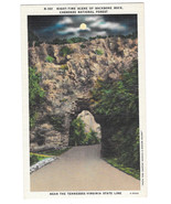 VA Cherokee National Forest Backbone Rock Night Vtg Linen Postcard - $6.36