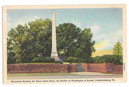 VA Fredericksburg Mary Ball Washington Memorial Monument Vtg Linen Postcard - $6.17