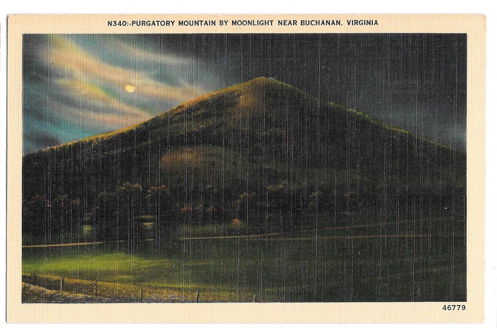 VA Buchanan Purgatory Mountain by Moonlight Vtg Linen Postcard Virginia