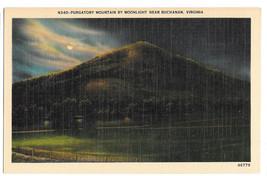 VA Buchanan Purgatory Mountain by Moonlight Vtg Linen Postcard Virginia - $4.74