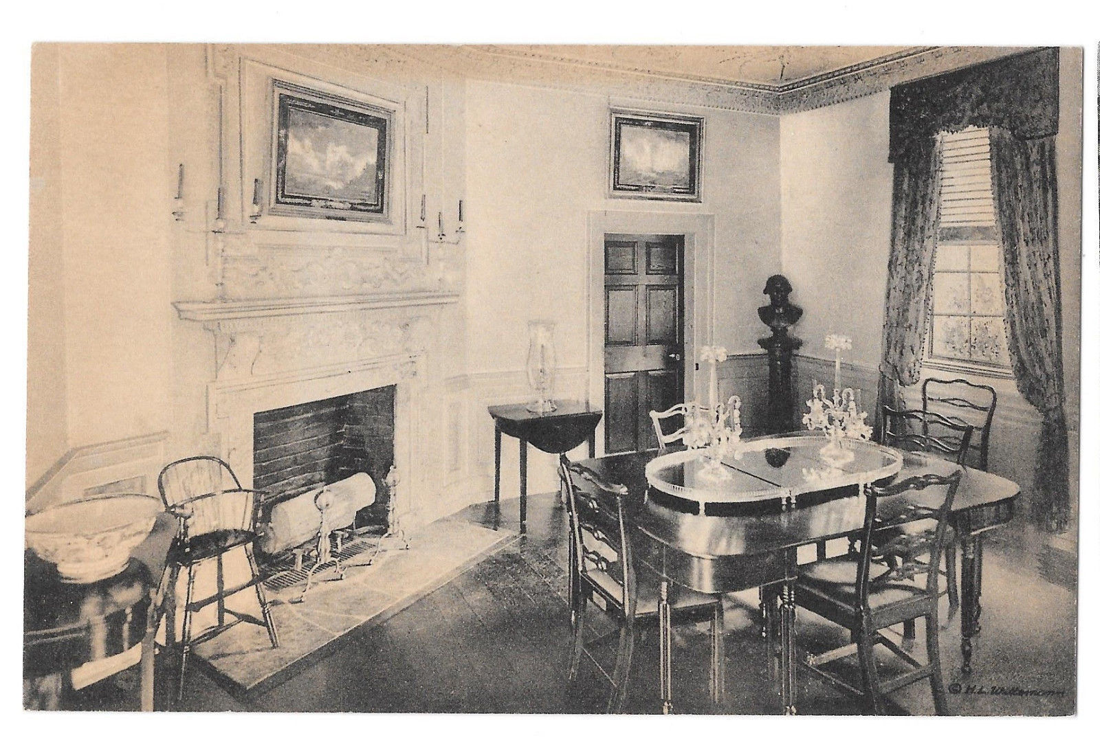 VA Mount Vernon Family Dining Room Vtg Almours Securities Postcard