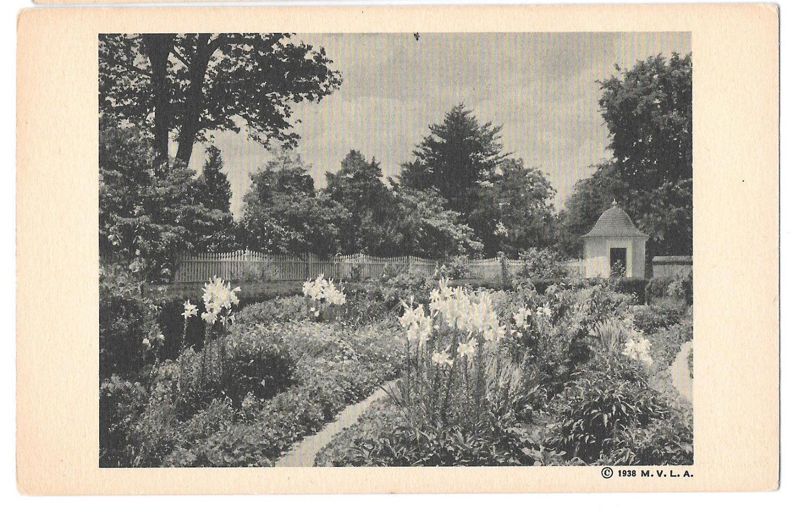 VA Mount Vernon Flower Garden Lilies George Washington Vtg Postcard 1938 MVLA