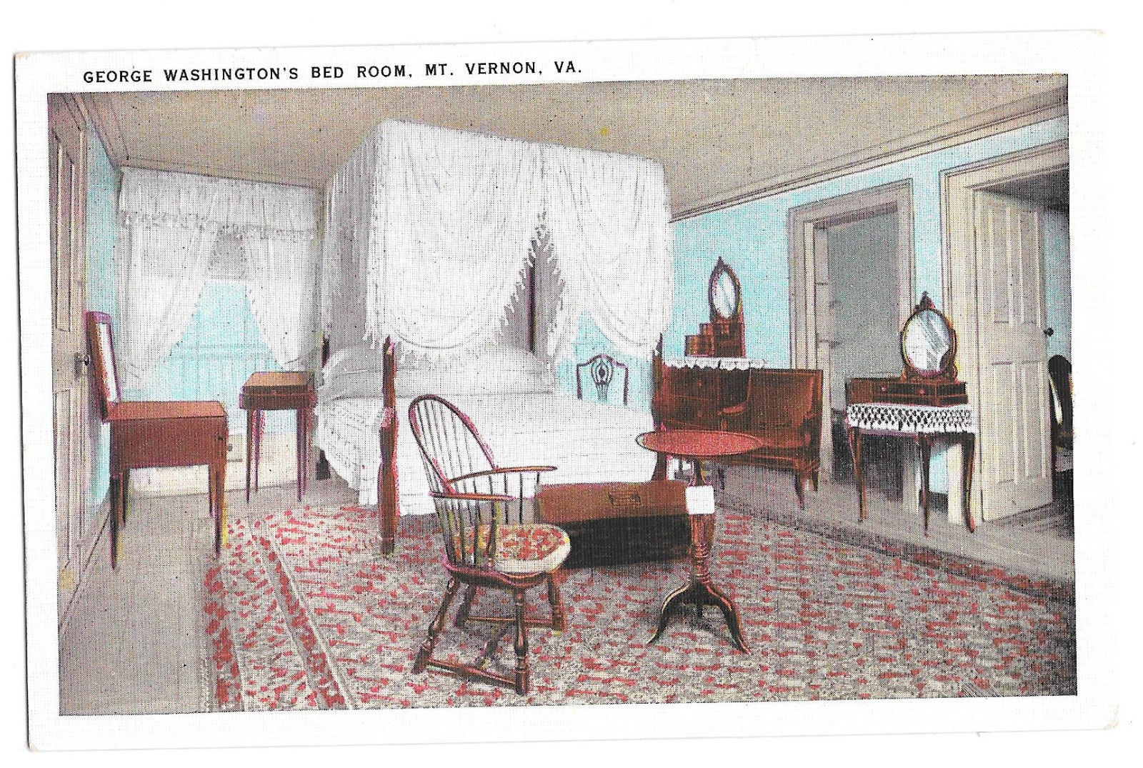 VA Mount Vernon George Washington's Bed Room Vtg Tichnor Postcard Virginia