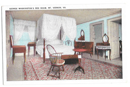 VA Mount Vernon George Washington's Bed Room Vtg Tichnor Postcard Virginia - $4.74