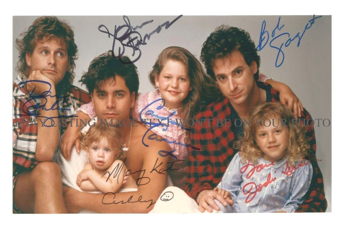 FULL HOUSE AUTOGRAPHED CAST 6X9 RP PHOTO STAMOS OLSEN TWINS SAGET