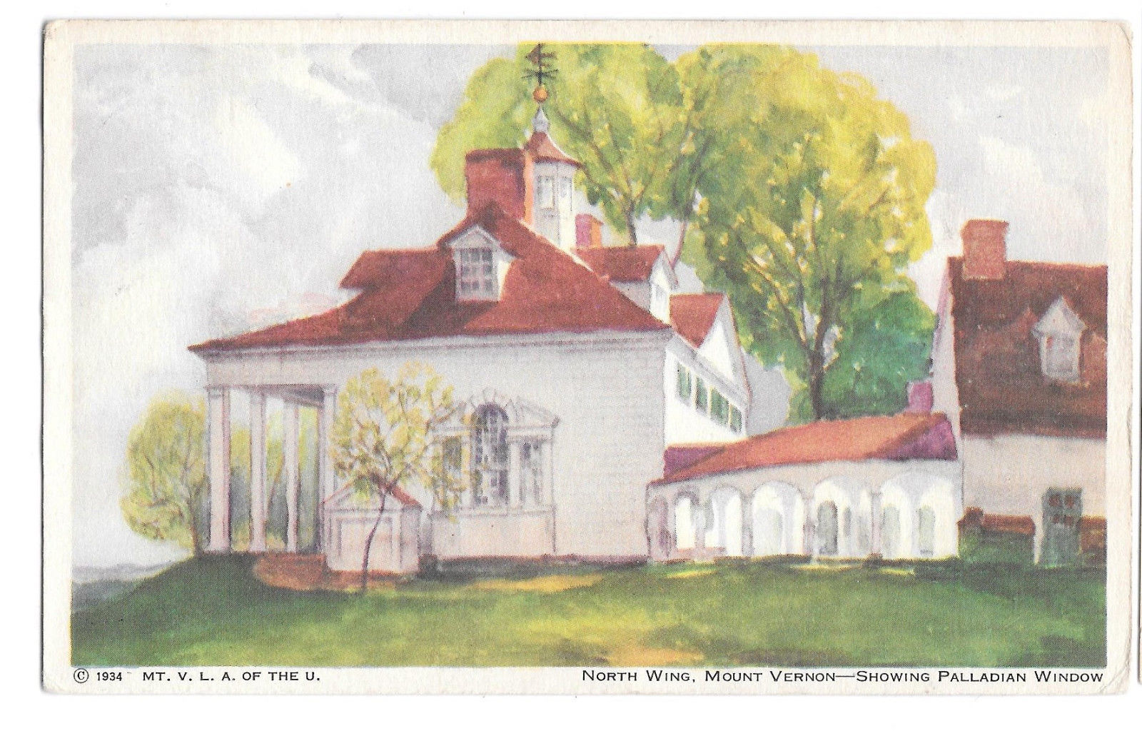 VA Mount Vernon North Wing Palladian Window Vtg 1934 Ladies Association Postcard