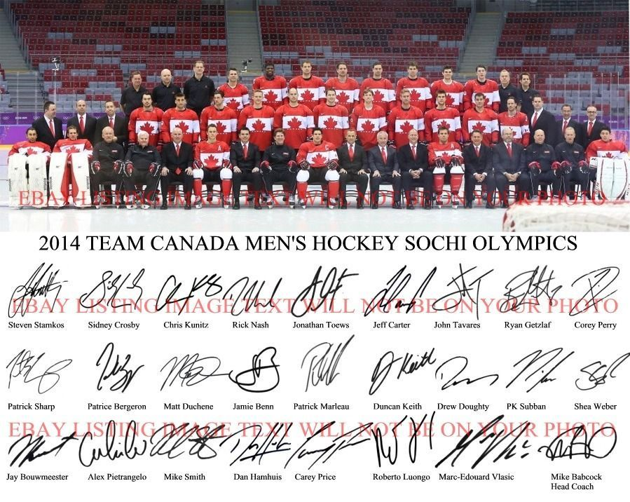 TEAM CANADA MENS OLYMPIC HOCKEY 26 SIGNED 8x10 RP PHOTO SIDNEY CROSBY LUONGO +