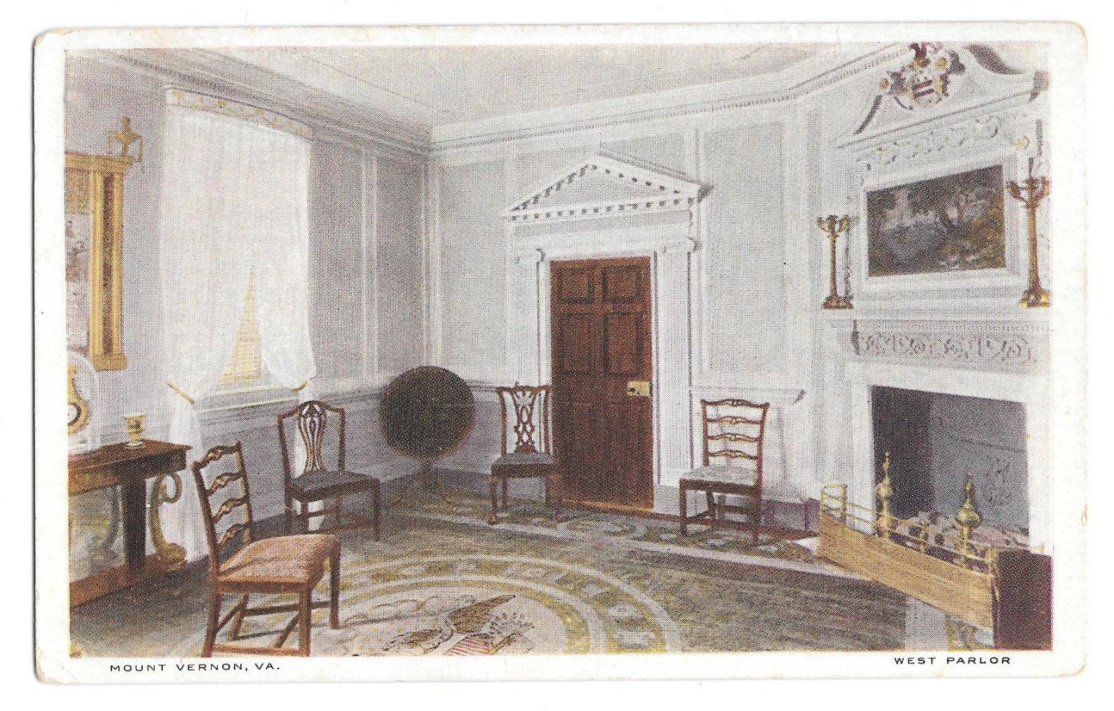VA Mount Vernon West Parlor George Washingtons Home Vtg 1920 MVA Postcard