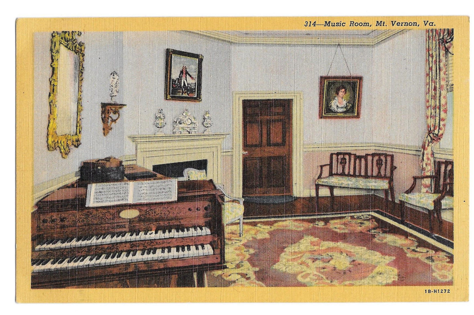VA Mount Vernon Music Room Vtg B S Reynolds Linen Postcard Alexandria Virginia