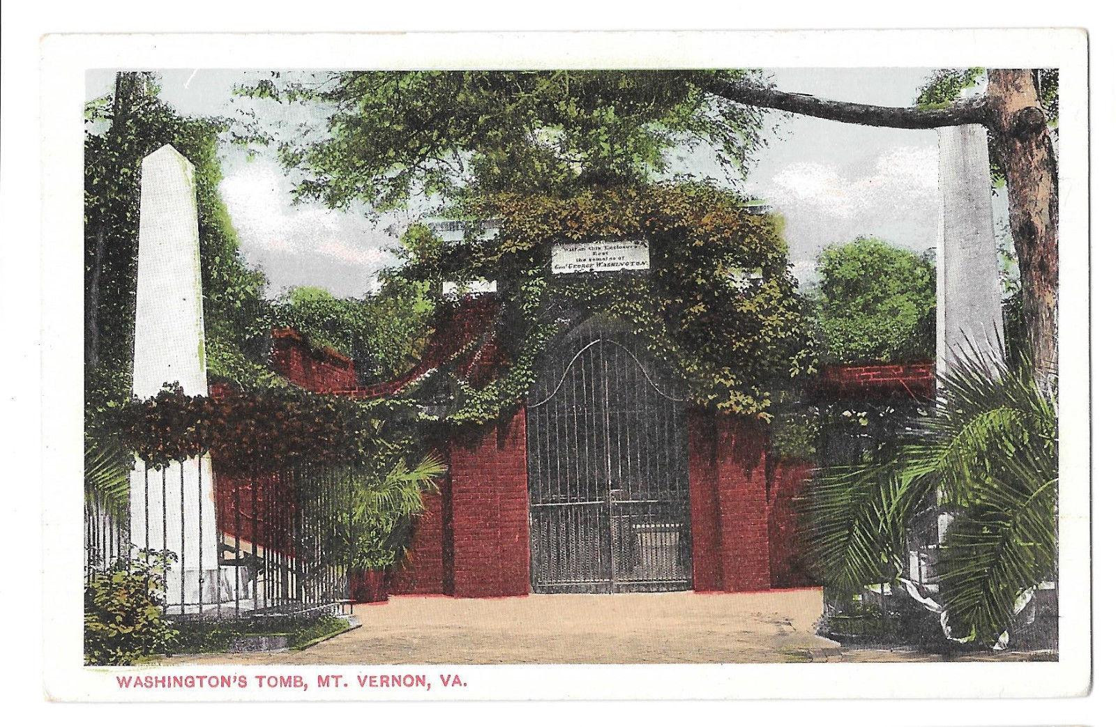 VA Mt Vernon Washingtons Tomb Vtg B S Reynolds White Border Postcard Virginia