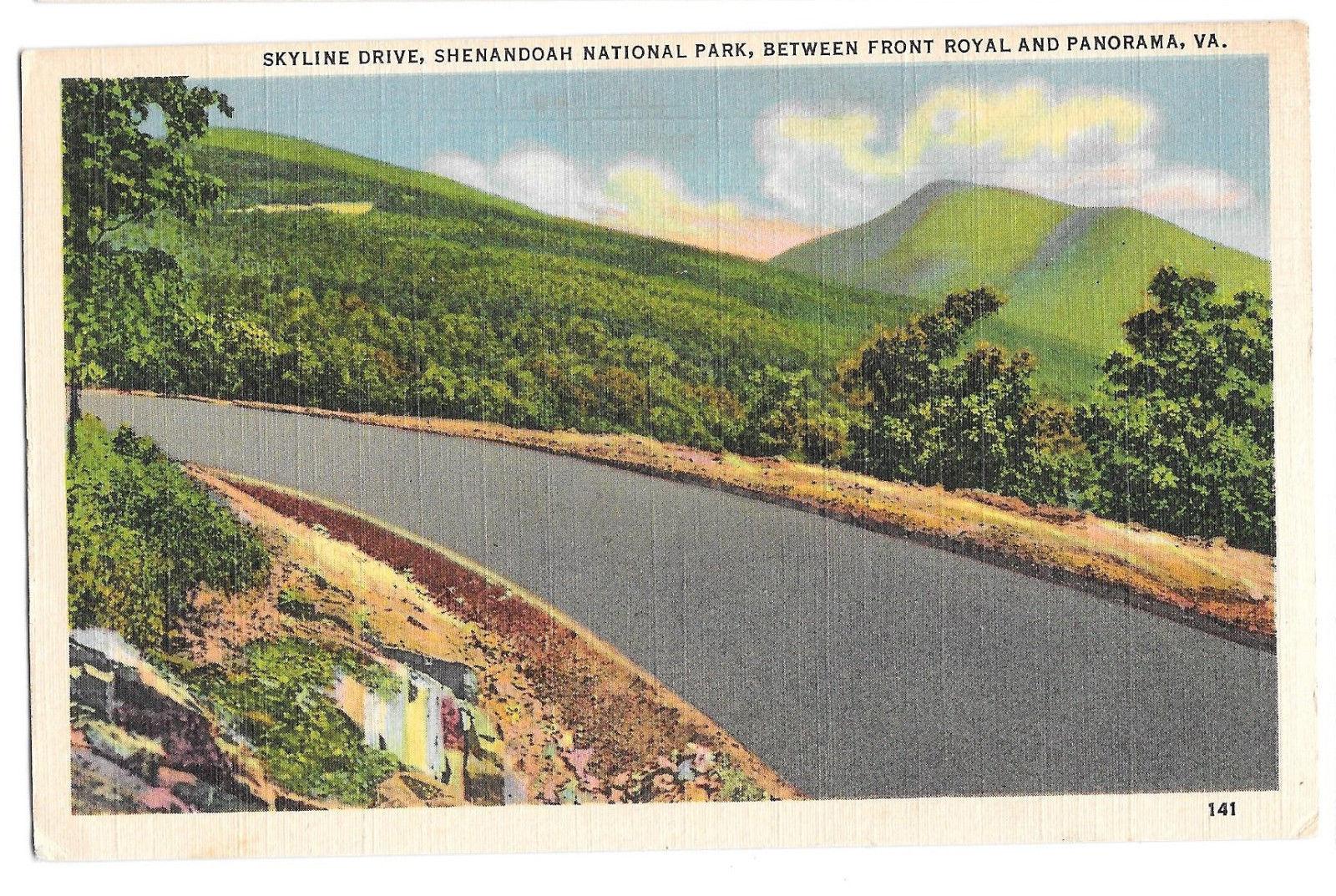 VA Skyline Drive Shenandoah National Park Front Royal Vtg Linen Postcard