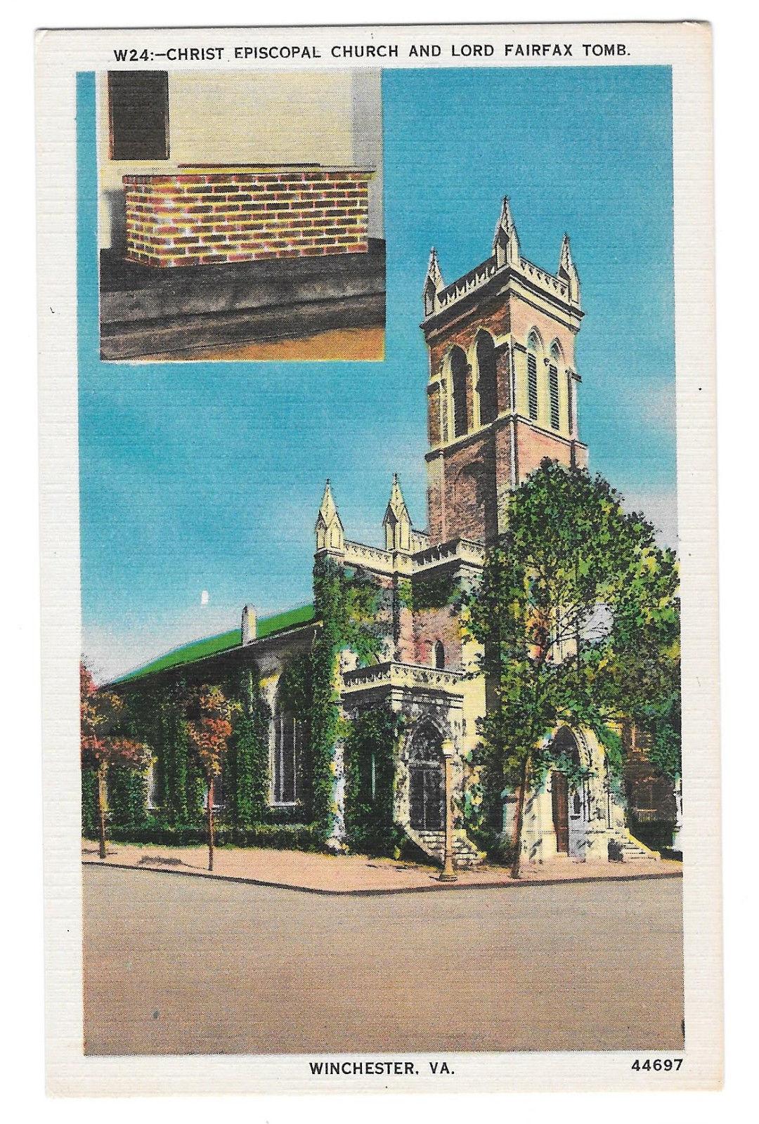 VA Winchester Christ Episcopal Church Lord Fairfax Tomb Vtg Linen Postcard
