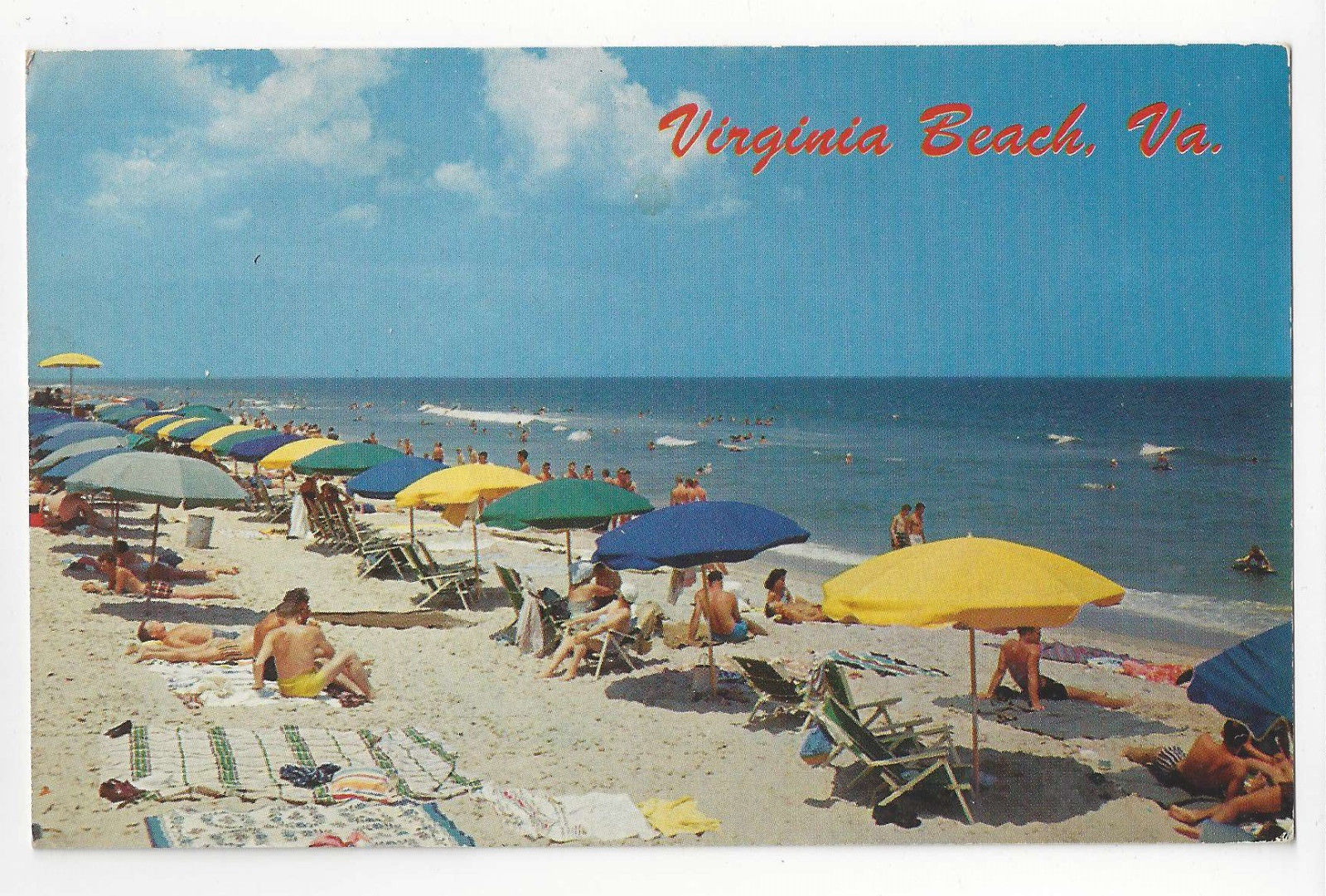 VA Virginia Beach Umbrellas Bathers Vtg 1953 Postcard