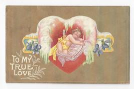 Valentine Postcard Cupid Sleeping Icy Heart Gold Moire 1909 Vtg Postcard - $4.74